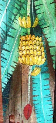Pinturas de bananas em madeira.