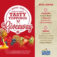 """The promotion has closed as of September 4th, 2013 at 11:59 p.m. Thanks to everyone who participated! Please stay tuned for winner announcements on September 9th, 2013. Winners will be notified in a comment under their repinned """"Tasty Toppings"""" pin, as well as under the pin descriptions on our Giveaway board. If you are a winner, please view the board description for instructions on how to claim your prize. (View board description for Official Rules)"""