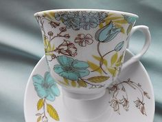 Set of 2 Bentley's 2012 Tea Cups & Saucers Aqua Brown & Green Flowers