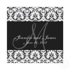 Save The Date Damask Black White Wedding invitation