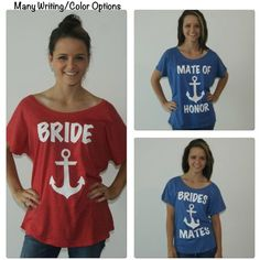 5 Anchor Bridesmaid Flowy Tee Shirts Brides Mates Shirts Xs-2xl Flowy... ($100) ❤ liked on Polyvore featuring tops, t-shirts, grey, women's clothing, bridal t shirts, anchor shirt, loose shirts, gray shirt and bride t shirt
