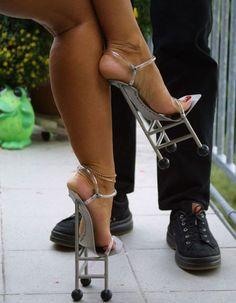 "20 Strange Heels: DITCH or WEAR? 1. Robot Heels DITCH 2. Flower ""Stripper"" Heels DITCH 3. Shoeless Heels DITCH 4. Flower Heels WEAR 5. Invisible"