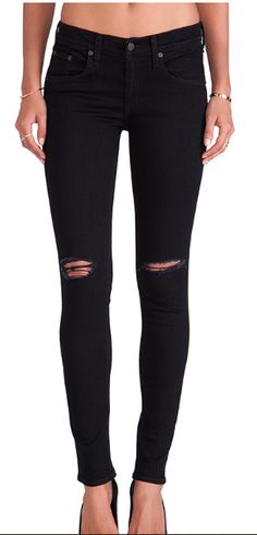 The Skinny' Stretch Jeans (Coal with Holes) $198.00