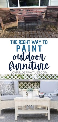 Need to update some old outdoor furniture? Follow these easy instructions to give your old, worn outdoor furniture some fresh, new life! Learn how to paint outdoor furniture the right (and easy!) way so that it will last for years. Outdoor Projects, Easy Diy Projects, Home Projects, Painted Outdoor Furniture, Diy Furniture, Home Decor Items, Diy Home Decor, Table Setting Inspiration, Farm House Colors
