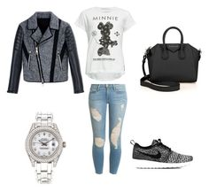 """""""On The Way outfit"""" by delaneyadriana ❤ liked on Polyvore featuring Neff, Frame Denim, Neil Barrett, NIKE, Givenchy and Rolex"""