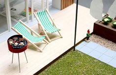 Miniature patio chairs, grill, planter, gnome