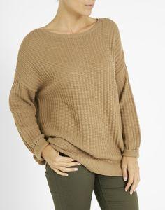 8734c744c07b Pull forme boîte en mélange coton uni camel Femme - Jacqueline Riu Magasin Vetement  Femme,