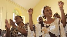 Women worship during the United Methodist Consultation on Holistic Strategy for Africa at the church's mission in Dakar, Senegal. The church offers United Methodist Women in addition to teaching sewing, batik, embroidery and marketing skills for microeconomic development projects. A UMNS photo by Larry Hollon.