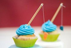 Fishing Rod Father's Day Cupcake Toppers  Set of 12 by CraftieAnne, $7.00  soooooo Cute!
