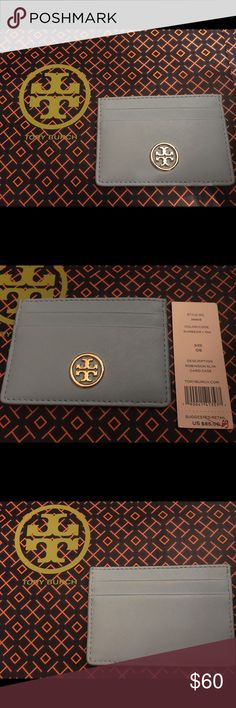 TORY BURCH light blue Robinson slim card case NWT Brand new with tag light blue Robinson slim card case Tory Burch Bags Wallets