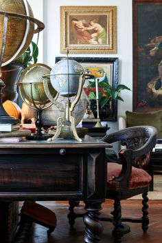 Collected table top, art, room styling