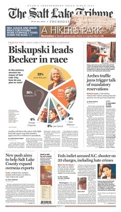 The best faces-in-pie-chart graphic I've seen in a while. | The Salt Lake Tribune for July 23, 2015, via Today's Front Pages | Newseum #newsdesign #newspapers #graphics