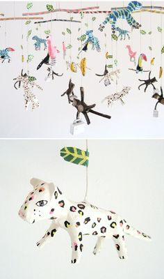 kim baise - quirky papier mache mobiles So cool! Diy Paper, Paper Art, Paper Crafts, Paper Clay, Paper Mache Projects, Art Projects, Diy For Kids, Crafts For Kids, Paper Mache Animals