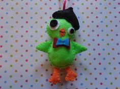 Felt Green Beatnik Bird Ornament by Pepperland by Pepperland