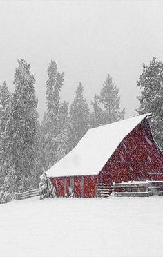 Barn In Snow Storm                                                       …