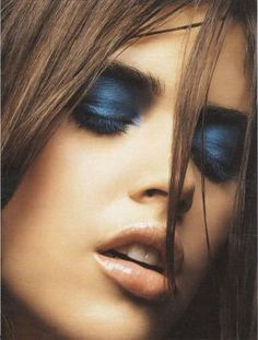 Dark blue eye shadow goes really well with brown eyes. This is an electric midnight blue hue, which goes perfectly with black eyeliner on lash line and black eye shadow on the crease blended with the blue eyelid. Perfect <3