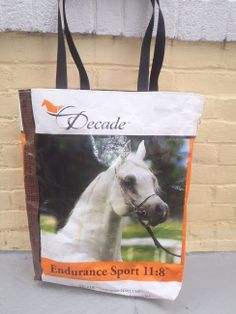 Large Reusable Shoppong tote made from recycled Horse Feed Bag.  Free Shipping.