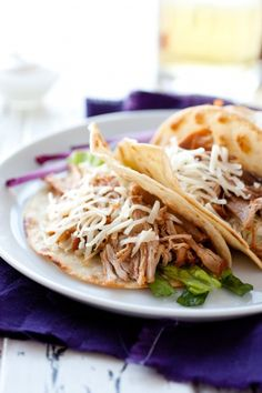 Slow Cooker Sweet Pork Barbacoa - Cafe Rio Copycat! Perfect for tacos, enchiladas, burritos, salads, tostadas and more. So versatile and about 5 minute prep. From CookingClassy.com