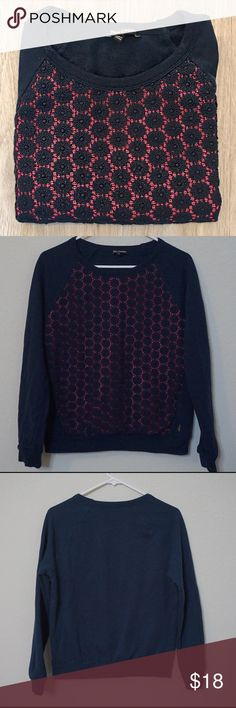 Juicy Couture Eyelet Floral Sweater Top Juicy Couture Floral Sweater  Color: Navy Blue & Pink  Condition: Pre-Owned; Excellent  Size: Small  Material: 100% Cotton Juicy Couture Tops Tees - Long Sleeve