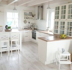 Grey floor, wood countertop, white cabinets for white kitchen interior design Grey Wood Floors, Wood Tile Floors, Grey Flooring, Kitchen Flooring, Kitchen Backsplash, Wood Kitchen Countertops, Countertop Decor, Kitchen Fixtures, White Shaker Cabinets