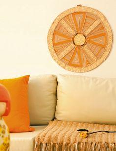 Grande mandala de parede com palha de carnaúba, rami e juta / DIY, craft