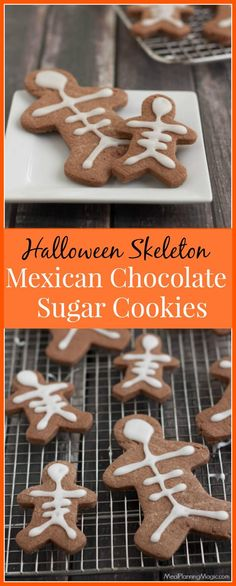 With a hint of cinnamon and chili pepper, my easy Halloween Skeleton Mexican Chocolate Sugar Cookies are ready in under an hour. Delicious and SO easy! Cinnamon Sugar Cookies, Sugar Cookie Icing, Chocolate Sugar Cookies, Soft Sugar Cookies, Cut Out Cookies, Sugar Cookies Recipe, Halloween Finger Foods, Halloween Desserts, Easy Halloween