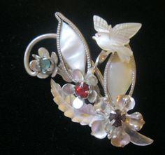 Vintage MOP Rhinestone Flowers & Dove Pin