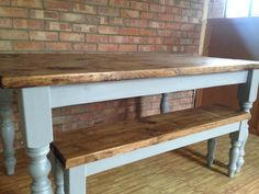 handmade farmhouse dining table with bench by