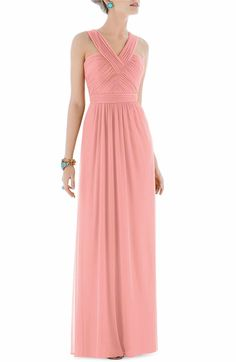 Main Image - Alfred Sung Shirred Chiffon V-Neck Gown