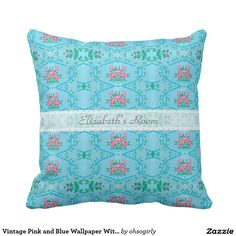 Vintage Pink and Blue Wallpaper With Name