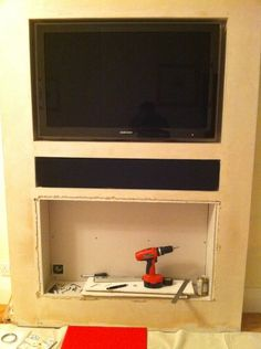 how to make a false chimney breast to house a tv and electric fire Fireplace Built Ins, Fireplace Inserts, Fireplace Wall, Living Room With Fireplace, Fireplace Design, Modern Fireplace, Fireplace Ideas, Living Room Wall Units, Living Room Update