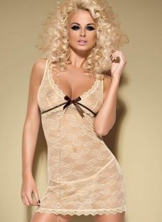This #Caramella is a glossy and extremely #seductive #chemise from Obsessive that made of soft elastic materials. It is decorated with #sexy lace. This chemise has satin #bow under the breasts and chocolate strap which highlight your #breasts. This item comes with a sexy #thong. Browse the image.