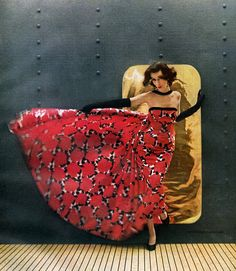 Dovima - wearing a gown by Estevez, 1959.
