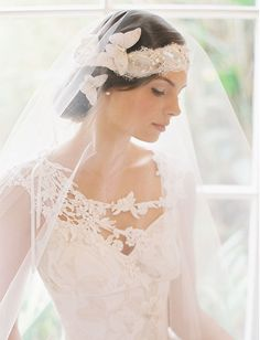 butterfly hairpiece and veil
