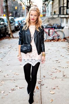 Leather jacket, lace dress, black leggings! Eleanor Strauss - Lucky Magazine Senior Fashion Editor