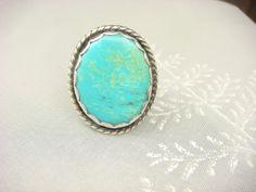 ♥♥♥Turquoise Ring Vintage Jewelry Turquoise by ShinePrettyGems, $39.00