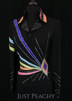 Black Multi-Color Showmanship Outfit by Berry Fit ~ Ladies XS/Youth XL – Just Peachy