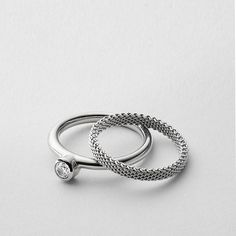 Our classic Elin collection was updated to have a distinctly modern feel for Spring. This stack ring features a small crystal that sparkles when you move. The mixed polished stainless steel and mesh textures add a unique element. Crystal Jewelry, Crystal Ring, Stone Jewelry, Jewelry Rings, Jewellery, Skagen, Stackable Rings, Stone Rings, Stones And Crystals
