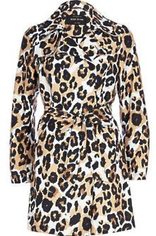 Shop the Trend: Print Clash River Island. Brown graphic animal print trench coat. (Would look hot with nothing underneath!) ;)