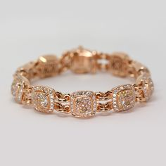 18k Rose Gold Diamond Bracelet With Fancy Pink Yellow And Champagne Colored Diamonds From Oliver