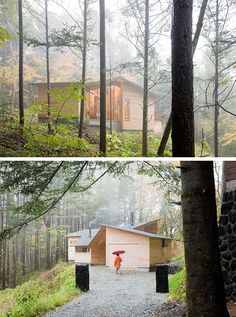 InBetween House: blending nature and architecture - Japanese Architecture, Modern Cabins Small Cabin Designs, Small Modern Cabin, Modern Cabins, Japanese Architecture, Space Architecture, Beautiful Architecture, Mountain Living, Mountain Cabins, Larch Tree