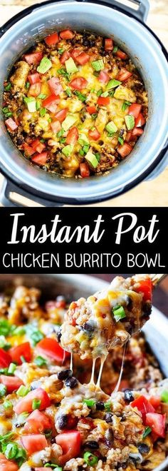 This recipe for Instant Pot Chicken Burrito Bowl is packed with flavor and so easy to make. Boneless, skinless chicken breast, Mexican rice, black beans, and tomatoes with Mexican spices. It's so delicious and the best part is, everything cooks right in the Instant Pot. This better-than-take-out burrito bowl is going to become a family favorite. Instapot Recipes Chicken, Chicken Thigh Recipes, Chicken Burrito Bowl, Chicken Burritos, Burrito Bowls, Teriyaki Chicken, Baked Chicken, Boneless Chicken, Chicken Chili