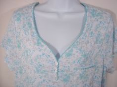 Karen Neuburger Encore M Medium  Nightgown Sleepwear Green Blue White Gray NWT #KarenNeuburger #Gowns