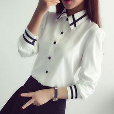 N Ladies OL Elegant Women Blusas Autumn Korean Style Long Sleeve Sequin Chiffon Ladies Office Shirt White Blue Tops Formal Collar Shirts, Shirt Blouses, Formal Blouses, The Office Shirts, Chiffon Shirt, Chiffon Tops, Summer Shirts, Korean Outfits, Blue Tops