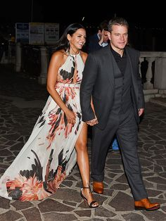 George Clooney & Amal Alamuddin's Whirlwind Wedding Weekend | DRESSED TO IMPRESS    | Looking sharp! After arriving in Venice earlier that day, Matt Damon and wife Luciana don their finest for a night out on Friday.