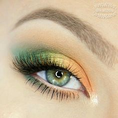yellow orange eyeshadow makeup tutorials ~ yellow orange eyeshadow + yellow orange eyeshadow looks + yellow orange eyeshadow makeup tutorials Makeup Eye Looks, Eye Makeup Art, Makeup For Green Eyes, Cute Makeup, Pretty Makeup, Eyeshadow Makeup, Hair Makeup, Orange Eyeshadow Looks, Beauty Makeup