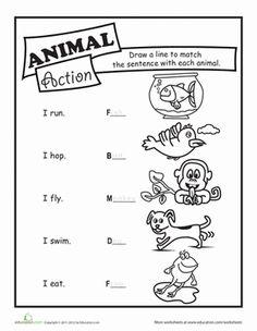 First Grade Grammar Worksheets: Animal Action Verbs