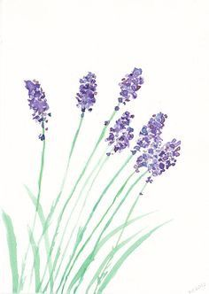 I love the idea of herbs and flowers for the nursery. SALE Lovely Lavender Watercolor Painting Print by Littlecatdraw Simple Watercolor Flowers, Easy Flower Painting, Easy Watercolor, Simple Flowers, Watercolor Cards, Watercolour Painting, Flower Art, Painting & Drawing, Watercolours