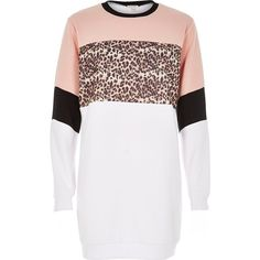 River Island White animal block print longline sweatshirt ($34) ❤ liked on Polyvore featuring tops, hoodies, sweatshirts, hoodies / sweatshirts, t shirts / tanks, white, women, sweatshirt hoodies, animal print hoodie and white hoodies