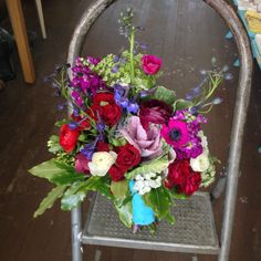 Local natural bouquet of jewel tones and some white. Spring flowers. Http://ggboutique.com